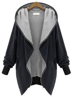 Schwarzer lockerer Kapuzen-Mantel mit Taschen