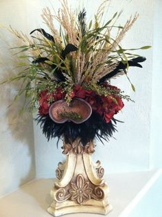 Silk Floral Arrangement - Red Hydrangea on Cream Candlestick - Old World Tuscan Style. $89.00, via Etsy.