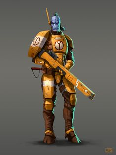 Here I show you a concept of a Tau soldier that I did just for fun. Hope you like it! Warhammer 40k Art, Warhammer Fantasy, Empire Tau, Fire Warrior, 40k Armies, Arte Cyberpunk, Alien Concept, Knight Art, Alien Art