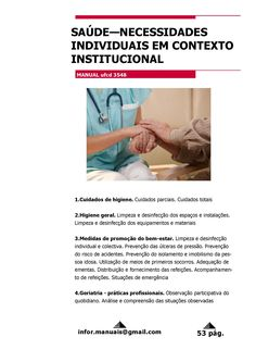 3548. Saúde necessidades individuais em contexto institucional