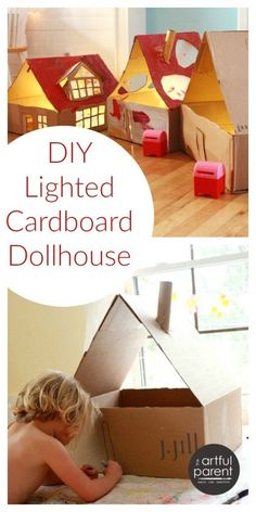 How to make a DIY cardboard dollhouse from a box. Add a string of lights for a beautiful, lighted dollhouse that kids can play with in the evening.