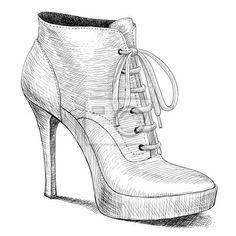 """Tableau,Poster """"dessin vectoriel dans le style vintage de chaussures mode femme"""""""
