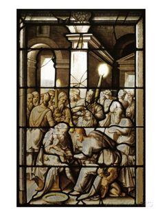 Vitraux de la chapelle du connétable de Montmorency au château d'Ecouen : La Circoncision- ECOUEN, CHAPELLE, VITRAIL DE LA CIRCONCISION, 1: La Circoncision présente la même technique, et rappelle par son entourage architectural les baies des enfants. L'analogie de facture entre ces  panneaux et ceux des enfants permet de les situer autour de 1544. La comparaison avec les vitraux de l'église St Acceul, à Ecouen en fait foi: dans le panneau de la Nativité, le groupe des 3 assistants debout ...
