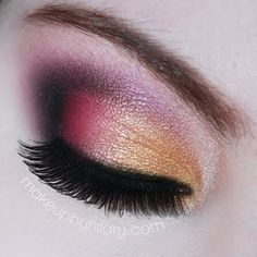 Different shades of vivid eye shadow are applied to the lids. This creates a sunset inspired theme. See the essentials used and wear it for your next party.