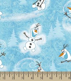 Springs Creative Products Group Frozen Olaf Winter Toss Fabric by The Yard, Light Blue