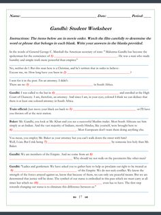 school on Pinterest | Worksheets, Gandhi and Quizes
