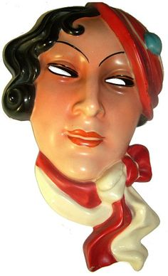 1930's Art Deco Ceramic Wall Mask. Made in Czechoslovakia