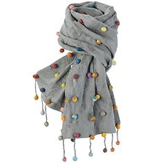 Soft gray felted wool is embellished on the front and fringed ends with little balls of wool that look like candy. Playful, colorful, fun to wear. x Dry-clean. A Fair Trade item, handmade in Nepal. Duppata Style, Capes For Women, Clothes For Women, Pom Pom Shirts, Diy Scarf, Pompom Scarf, Designer Scarves, Indian Designer Outfits, Summer Scarves