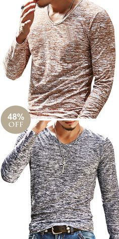 [ US$9 ]Solid Slim Fit Long-Sleeved V-Neck T-shirt #menswear #mensfashion #menstyle #casual #style