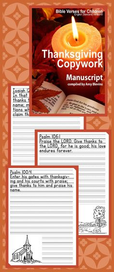 Free - 27 Bible verses for your children to copy during the month of November or any time of year!  Free for all fans of this Facebook page.