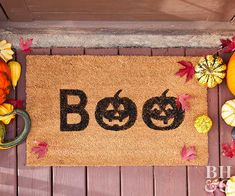 Use our free printable stencils to create a custom doormat that's perfect for greeting trick-or-treaters. Halloween pumpkin decorations go way beyond carving with this boo-tiful fall porch decoration. Halloween Front Doors, Halloween Door Decorations, Easy Halloween Crafts, Outdoor Halloween, Halloween Projects, Halloween Party Decor, Halloween Fun, Autumn Decorations, Haunted Halloween