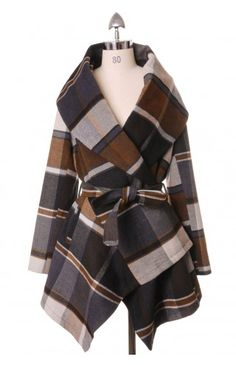 Prairie Check Rabato Coat by Chic+ - Retro, Indie and Unique Fashion