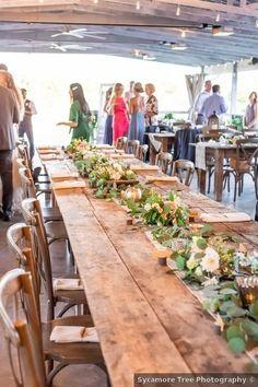 Wedding table decor ideas - setting, wood, rustic, greenery, flowers, barn {Sycamore Tree Photography}