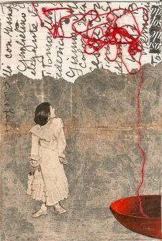 "Cinzia Farina – ""la tazza rossa"" – Mixed All Collage Kunst, Art Du Collage, Collage Art Mixed Media, Kunstjournal Inspiration, Art Journal Inspiration, Art Altéré, Collages, Encaustic Art, Mail Art"