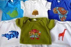 Fabric applique onesie decorating activity: For the next baby shower you throw, bring onesies, fusible webbing, a printout of items that could be appliqued (we tailored ours to the guest of honor's interests and nursery theme), fabric scraps, a fabric pen, scissors and an iron.