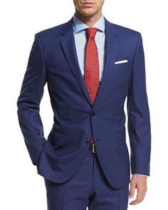 N3RHU Boss Hugo Boss Micro-Check Two-Piece Wool Suit, Blue