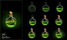 Spell Bottle by Bijesh Jayaram Digital Painting Tutorials, Digital Art Tutorial, Painting Tips, Art Tutorials, Digital Paintings, Drawing Tutorials, Concept Art Tutorial, Hand Painted Textures, Poses References