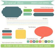 Website Blog Graphics & Icons  Tropical Bliss by AveryJamesStudio, $10.00
