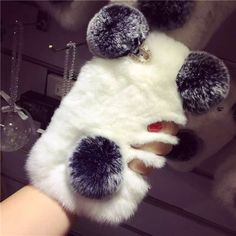 Super Cute PANDA Real Rex Rabbit Fur Phone Case For Iphone 7 6 6S Plus 5C 5S 4 Samsung Galaxy Note 7 5 4 3 2 S7 S6 Edge S5 S4 S3
