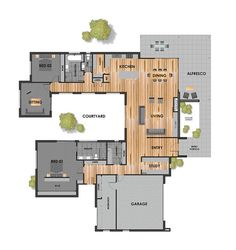 Craft Room Floor Plan Layout Offices Ideas For Room Floor Plan Lay… Modern House Floor Plans, Sims House Plans, New House Plans, Dream House Plans, Small House Plans, U Shaped House Plans, U Shaped Houses, Br House, Cottage House