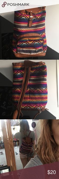Ecuadorian backpack Leather and woven backpack from Ecuador. Two adjustable straps able to be zipped into one. Tie and latches to close. External and internal zipper pockets. 16 in tall, 10 in wide, 4 in thick. Boarded bottom and lined. Very good condition. Bags Backpacks