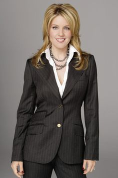 Work Fashion, High Fashion, Womens Fashion, Andrea Parker, Sara Rue, White Shirt Outfits, The Pretenders, Pinstripe Suit, Strong Hair