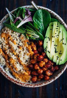fluffy quinoa, crispy, spiced chickpeas, mixed greens and avocado buddha bowl