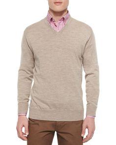 Merino V-Neck Sweater, Tan, Size: SMALL - Peter Millar