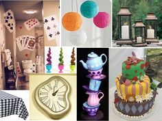 alice and wonderland party ideas   deck of cards, tea pots, clocks... all iconic Alice images.