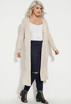 Women's Plus Size Long Knit Cardigan Ivory - Nitrogen | Plus Size ...