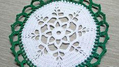 Final Result Supplies-Yarn - green, white-Crochet hook Make 10 chain (ch), 1 slip stitch (sl st) in the first ch Make 3 ch, 31 d. Thread Crochet, Filet Crochet, Crochet Motif, Crochet Crafts, Crochet Home, Crochet Projects, Crochet Coaster, Diy Crafts, Crochet Snowflake Pattern