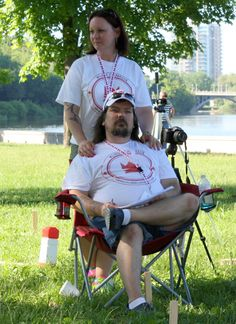 Watching over the 1st Canadian National Kubb Championship, Ottawa, Ontario, June 7th, 2014: Shane & Pattie Hultquist, Founders of Kubb Canada
