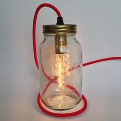 Glass Jar Lanterns As SEEN ON TV Jam Jar Table Light Lamp with Red Fabric Braided Cord