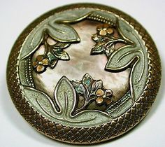"""Antique Iridescent Shell Button Lg Sz 1 1/2"""" Triple Floral Overlaying Design"""