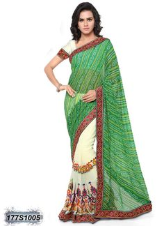 Modish Green and White Coloured Georgette Casual saree