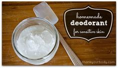 All natural homemade deodorant for sensitive skin. Awesome.