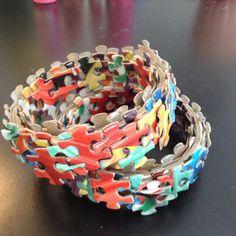 Multi Colored Jigsaw Puzzle Bracelet by SJPuzzles on Etsy