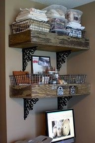 Rustic wooden crates for shelves