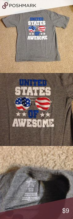 United States of Awesome shirt size 6/7 Fun grey shirt with red/white/blue letters, still in very good condition Shirts & Tops Tees - Short Sleeve