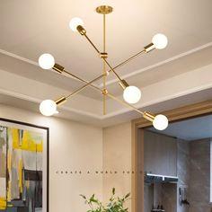 Hängelampe Modern Magische Bohne Design 6 flammig in Gold - Small Room Designs Simple Chandelier, Led Chandelier, Pendant Lighting, Pendant Lamps, Modern Chandelier, Living Room Lighting, Bedroom Lighting, Lustre Simple, Home Decor