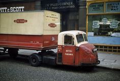 A Scammell Scarab truck in British Railways livery, London, 1962. British Railways was involved in numerous related businesses including road haulage