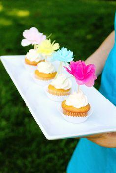 Tissue Paper Flower Cupcake Picks
