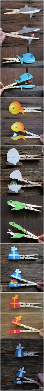 Fun crafts to do with clothes pins! Kids Crafts, Crafts To Do, Projects For Kids, Diy For Kids, Art Projects, Arts And Crafts, Paper Crafts, Clothespin Crafts, Kids Fun