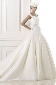 2015 Great Bateau Wedding Dress Off The Shoulder A Line With Satin Skirt USD 209.99 VUPPKFXGDG - VoguePromDressesUK