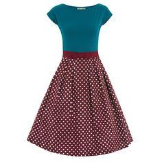 Yvette Raspberry Polka Dot Swing Dress |Vintage Style Dress -Lindy Bop