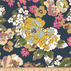 From Girl Charlee, this soft, printed, cotton jersey knit is printed on Girl Charlee's specialty knitted 95/5 combed cotton fabric that is only available through BOLT. Made in the USA and features 50% four-way stretch for comfort and ease. Use for children's apparel, loungewear, knit dresses and skirts with a lining, tops, and t-shirts. Colors include navy, white, yellow, green, mint, mauve, and purple.