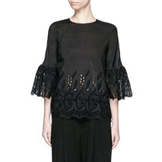 Ms Min Bell sleeve broderie anglaise cotton-silk top (245.415 CLP) ❤ liked on Polyvore featuring tops, black, fitted tops, flared sleeve top and bell sleeve tops
