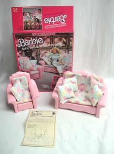 1987 Vintage Barbie Sweet Roses Furniture Set Sofa Bed, Chair Lounger