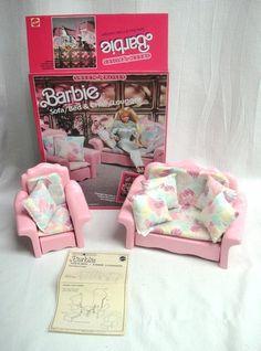 1987 Vintage Barbie Sweet Roses Furniture Set Sofa Bed, Chair Lounger