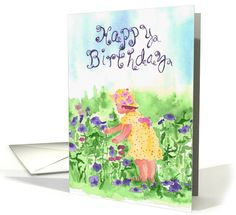 Happy Third Birthday Little Girl Picking Flowers Watercolor card #greetingcard